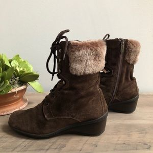 Aquatalia Fur Lined Suede Small Wedge Boots
